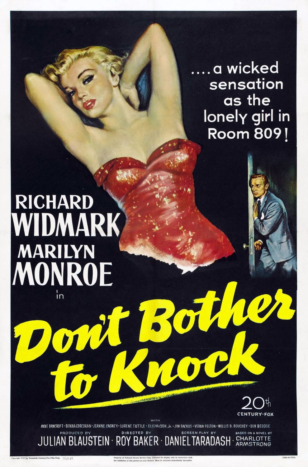 Film poster for Don't Bother to Knock (1952).