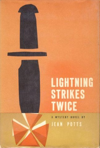 First edition cover of Lightning Strikes Twice (1958) by Jean Potts.
