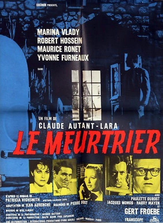 Film poster for Le Meurtrier (1963), based on Highsmith's The Blunderer.
